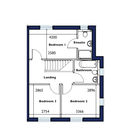 Plot One, Four, Five and Ten First Floor Floorplan