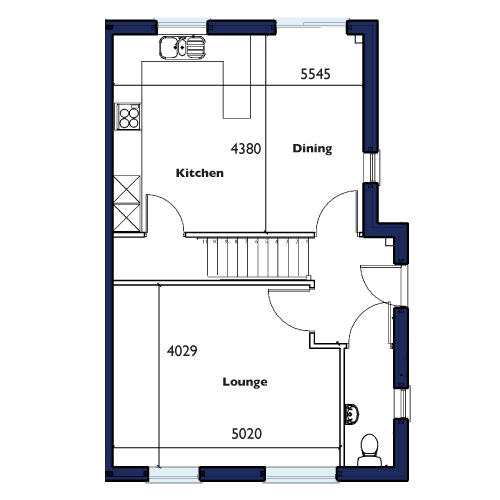 Plot One, Four, Five and Ten Ground Floor Floorplan