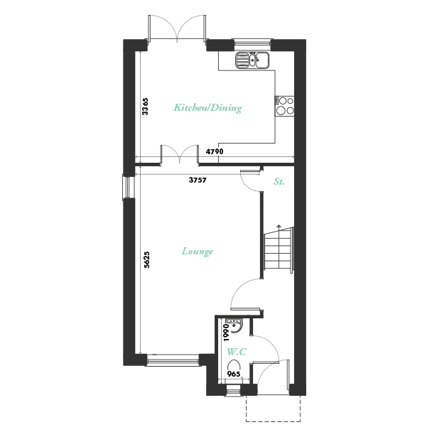 Plot three ground floor floorplan