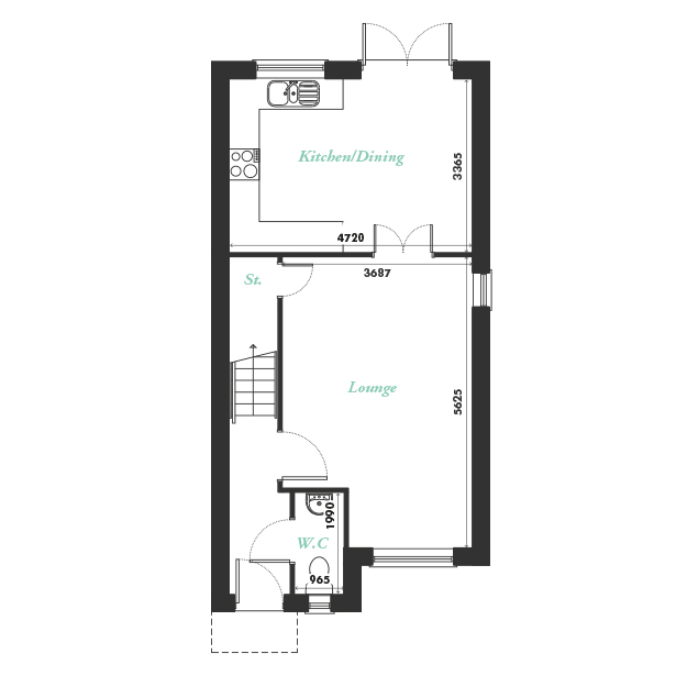 Plot five, seven and nine ground floor floorplan